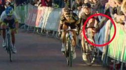 El espectador que tiró a la ciclista dice que fue sin