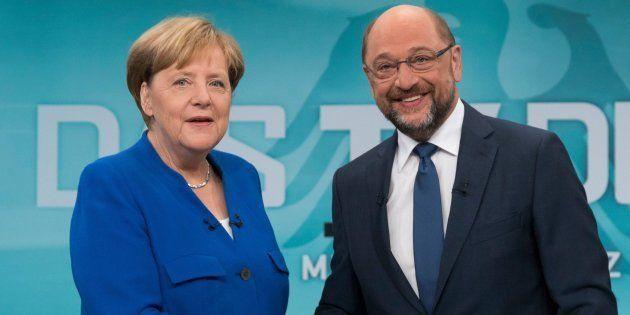 Imagen de archivo de Merkel y Schulz durante el debate del pasado