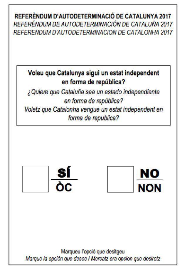 Así es la papeleta para el referéndum independentista de