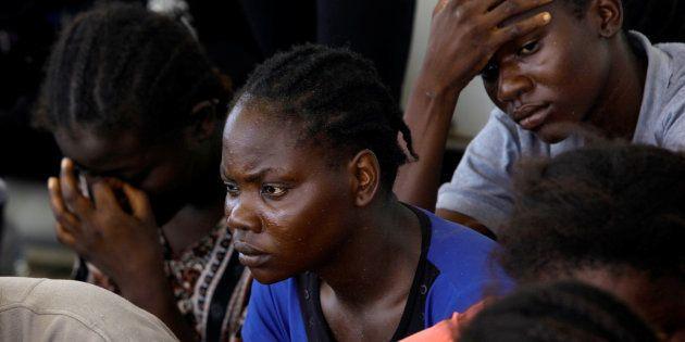 Un grupo de migrantes, tras ser interceptados por la guardia costera de Libia, el pasado 28 de