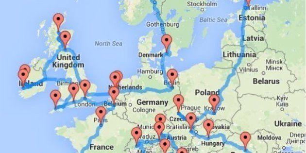 Si quieres hacer una ruta en coche por Europa, este mapa te puede