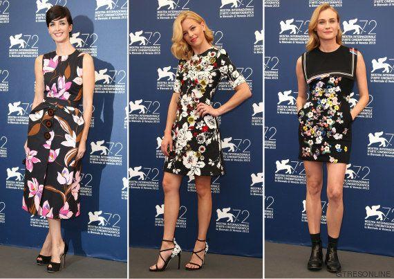 Paz Vega, Diane Kruger y Elizabeth Banks, vestidas iguales en la presentación del 72º Festival de Cine...