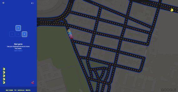 Google Maps convierte las calles del mundo en el videojuego de los Comecocos por un