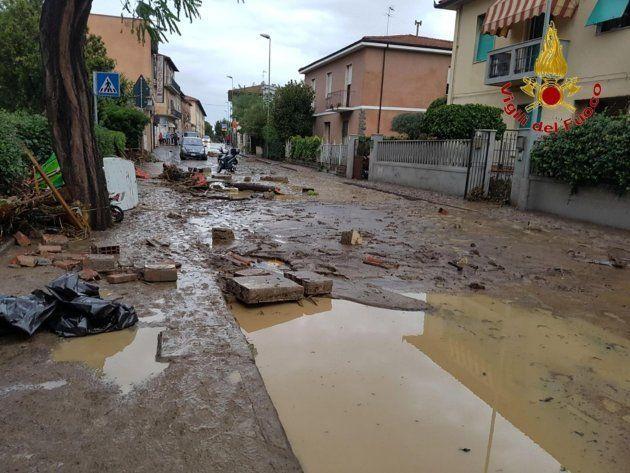 Las calles inundadas de Livorno,