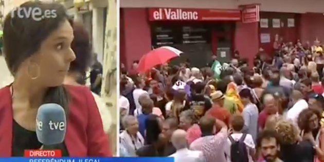 Un cámara de TVE aparta a empujones a una manifestante en pleno