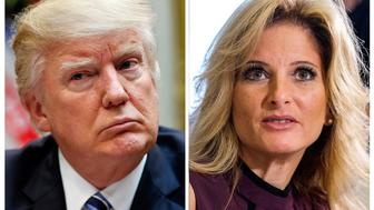 "FILE - In this combination photo, President Donald Trump, left, listens during a meeting at the White House, on March 13, 2017 in Washington and Summer Zervos, a former contestant on ""The Apprentice"" appears at a news conference in Los Angeles on Oct. 14, 2016. Lawyers for Trump hope to persuade a New York appeals court on Thursday, Oct. 18, 2018, to dismiss or delay a lawsuit against him by former ""Apprentice"" contestant Summer Zervos. Zervos sued the president for calling her a liar after she accused him of unwanted kissing and groping.(AP Photos/Pablo Martinez Monsivais, left, and Ringo H.W. Chiu, Files)"