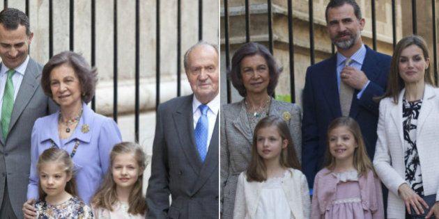 Los reyes, sus hijas y la reina Sofía asisten a la misa de Pascua en