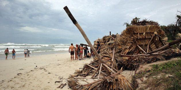 Destrozos del huracán Irma a su paso por la playa de Varadero