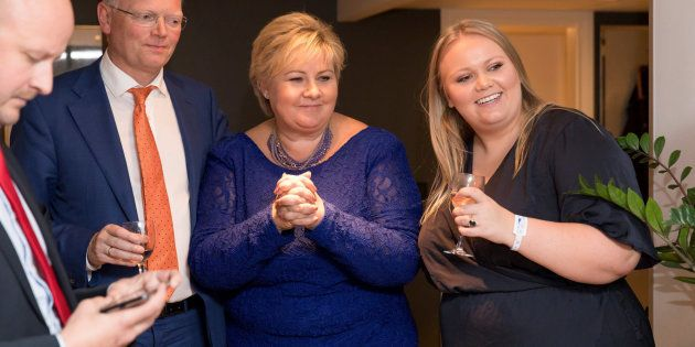 La primera ministra noruega, Erna Solberg, tras conocer los resultados electorales que le dan de nuevo...