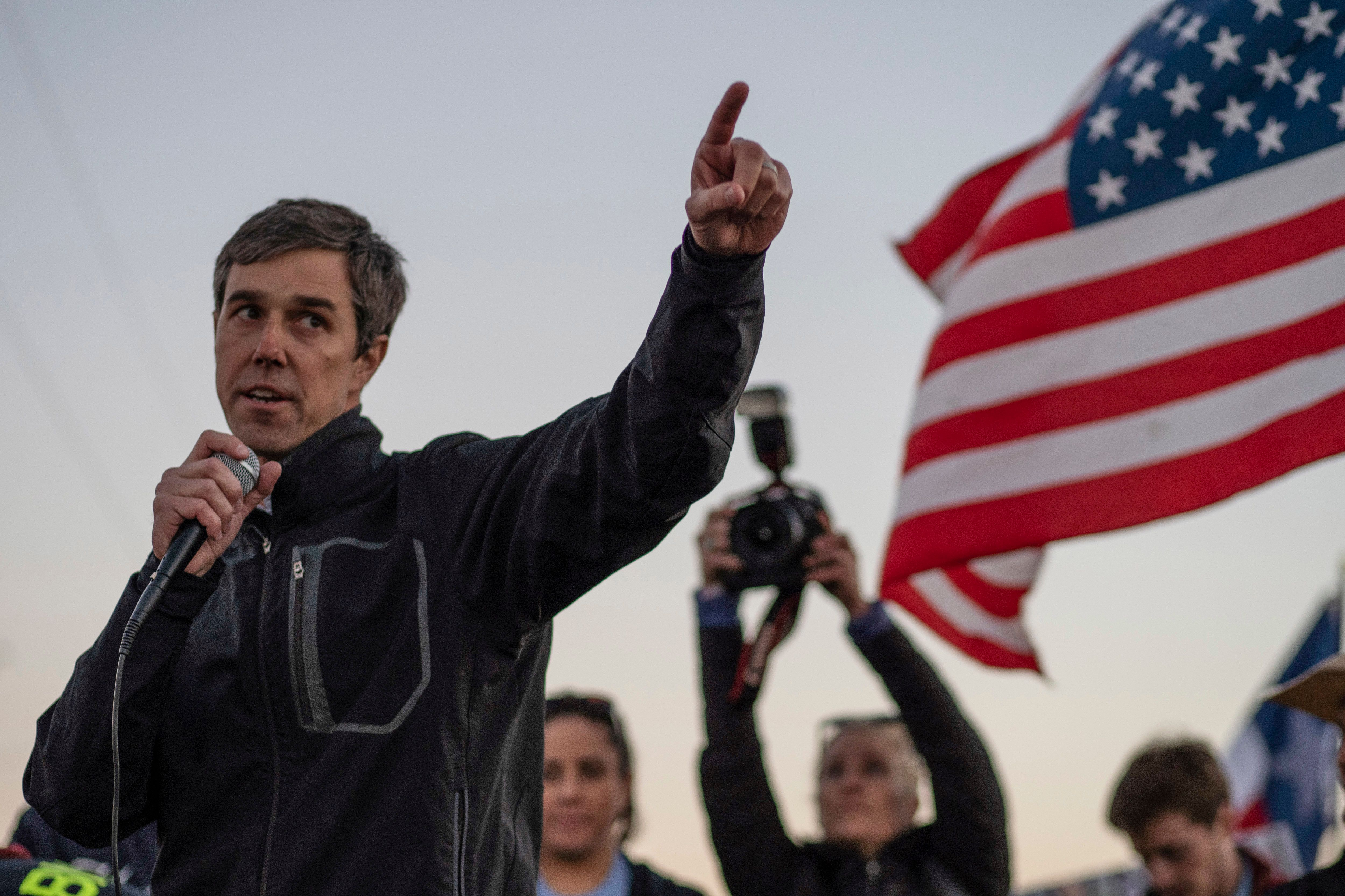 Former Texas Congressman Beto O'Rourke speaks to a crowd of marchers during the anti-Trump 'March for Truth' in El Paso, Texas, on February 11, 2019. - The march took place at the same time as US President Donald Trump pushed his politically explosive crusade to wall off the Mexican border at a rally in El Paso. (Photo by Paul Ratje / AFP)        (Photo credit should read PAUL RATJE/AFP/Getty Images)
