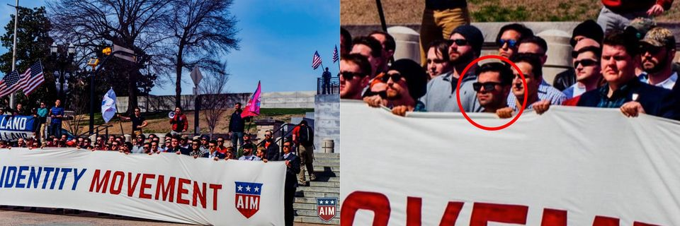 A photo from a gathering of the American Identity Movement, originally called Identity Evropa, posted...