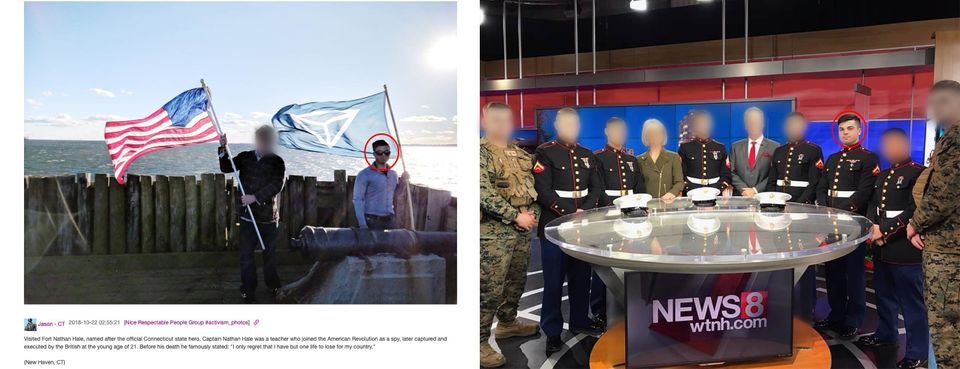 Jason Laguardia posted on the Discord server an image of himself waving an Identity Evropa flag (left)....