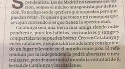 La carta de un profesor madrileño a favor de la independencia catalana que ya es