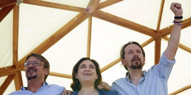 Xavier Doménech, Ada Colau y Pablo Iglesias, durante el acto de Catalunya en Comú con motivo de la Diada...