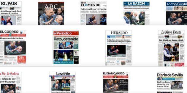 La detención de Rato monopoliza las portadas de la prensa