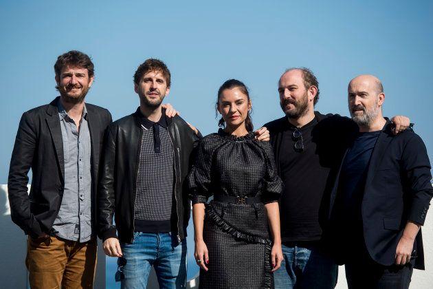 Gorka Otxoa, Julián López, Miren Ibarguren, Borja Cobeaga y Javier Cámara durante la presentación de...