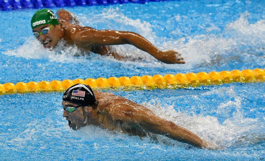 Un fotógrafo capta la cara que se le queda al gran rival de Phelps cuando ve que va a