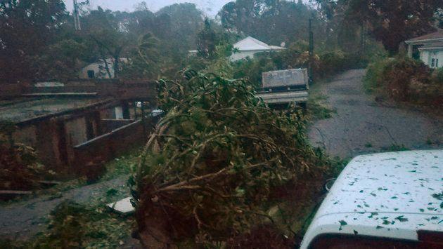 Los efectos del huracán María en la ciudad de Petit-Bourg, en Guadalupe, una posesión francesa de
