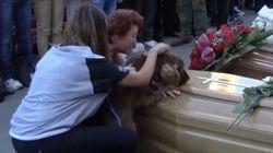 El perro que se despide de su dueño fallecido en el terremoto de