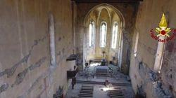 Los drones entran en las iglesias de Amatrice y muestran los