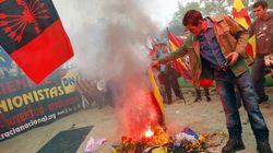 Quema de esteladas tras una manifestación de extrema derecha en