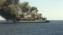 Evacúan a 156 personas de un ferry incendiado a 18 millas de