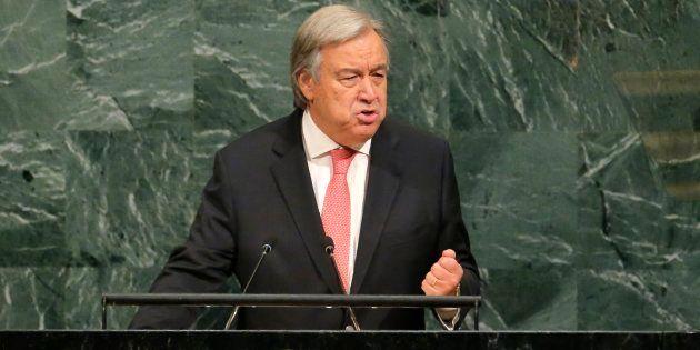 Antonio Guterres, el secretario general de la ONU, durante su discurso en la Asamblea General del pasado...