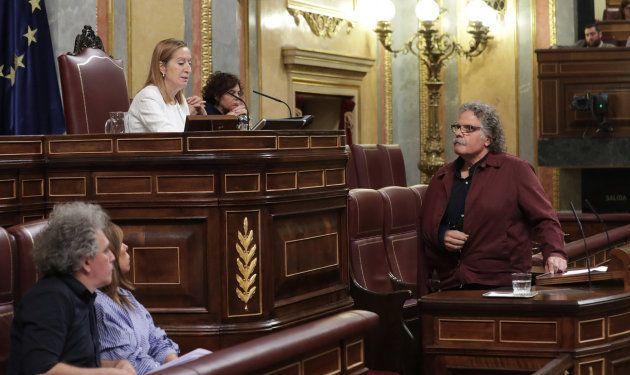 La presidenta del Congreso, Ana Pastor, llama al orden al portavoz de ERC, Joan Tardà, durante su intervención...