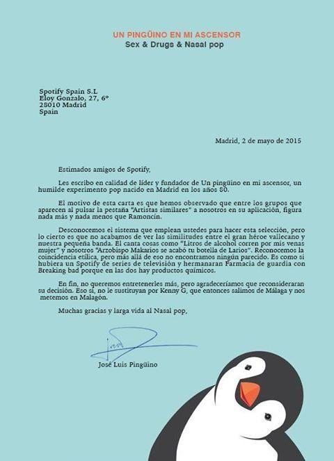Carta de 'Un pingüino en mi ascensor' a