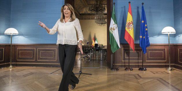 La presidenta andaluza, el jueves pasado durante el anuncio de su