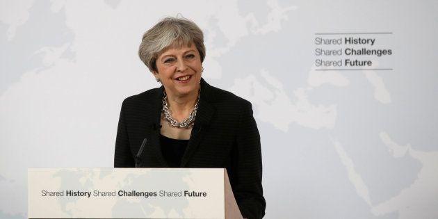 La primera ministra británica, Theresa May, durante su discurso en Florencia (Italia) el 22 de septiembre...