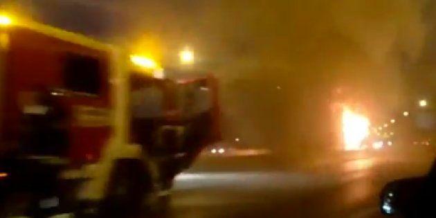 Arde un autobús interurbano en el Bus-Vao de la A-6 sin afectar a