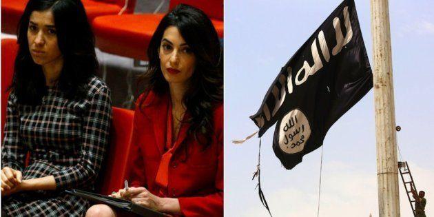 Nadia Murad, superviviente de ISIS, y Amal Clooney asisten a la reunión del Consejo de Seguridad organizada...