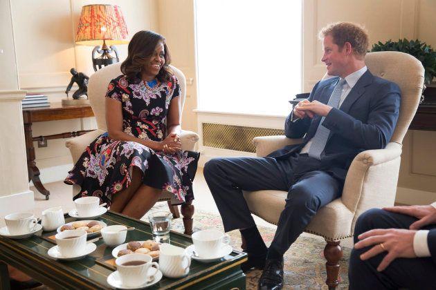El Príncipe Harry y Michelle Obama en un encuentro en