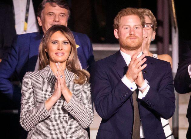 Melania Trump y el príncipe Harry en la apertura de los Juegos Invictus en Toronto, Canadá, el 23 de...
