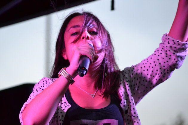 Emi Rap, durante un concierto en Villaverde el 22 de