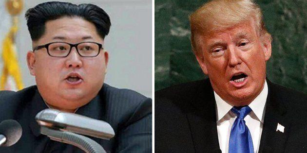 Combo de fotografías de archivo del líder norcoreano Kim Jong-un (i), y del presidente de Estados Unidos,...