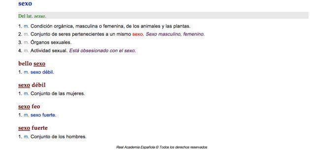Captura de imagen del 'Diccionario de la Real Academia Española' en su versión