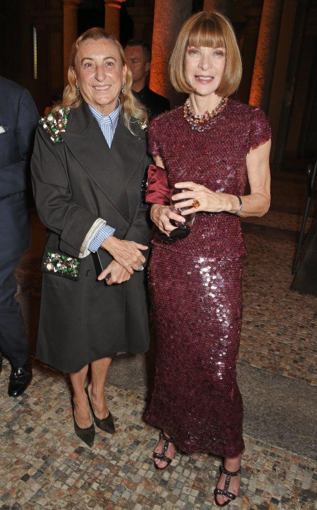 La diseñadora Miuccia Prada y la directora de Vogue US Anna