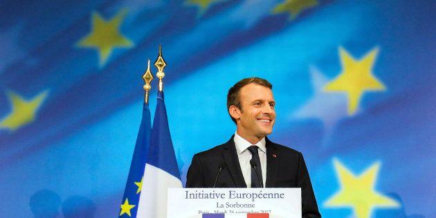 El presidente francés durante su discurso sobre la