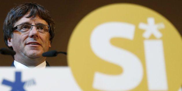 El presidente de la Generalitat, Carles Puigdemont, esta tarde durante su intervención en un acto del...