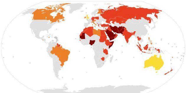 Países con leyes contra el insulto religioso. De claros a oscuros, por gravedad: amarillo, restricciones...