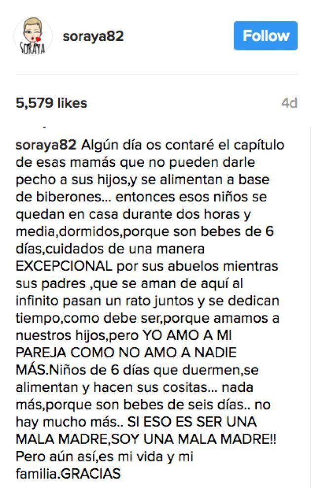 Soraya Arnelas contesta a quienes critican que salga a cenar días después de dar a