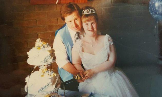 La pareja el día de su boda, en