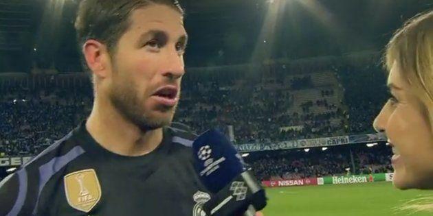 La reacción de Ramos cuando Guash le informó de que el segundo gol no era