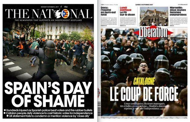 Primeras planas de 'The National' (Escocia) y 'Libération'