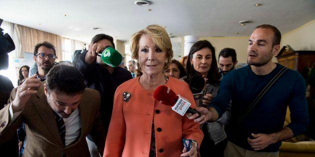 Esperanza Aguirre durante la celebracion del Dia Internacional de la Mujer por el Ilustre Colegio de...