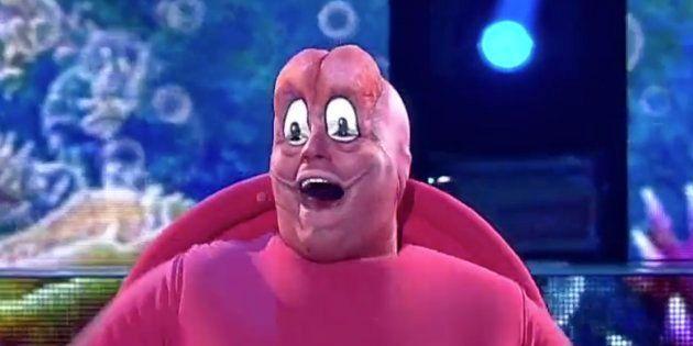 Jesús Durán durante caracterizado como el cangrejo de 'La Sirenita' en 'Tu cara no me