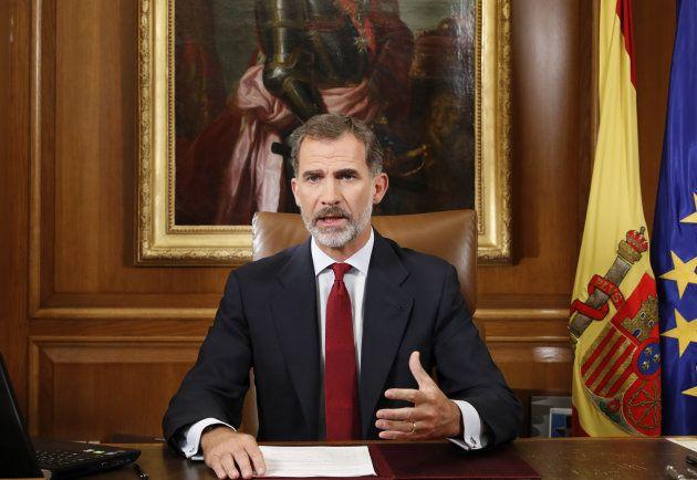 El rey durante su mensaje a los españoles tras el