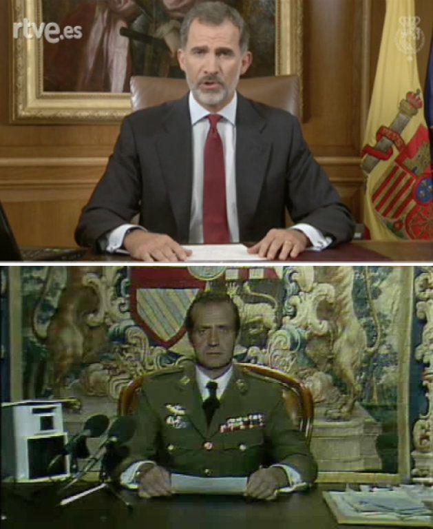 Arriba, Felipe VI en su discurso sobre Cataluña; abajo, Juan Carlos I tras el